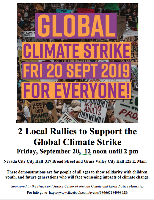 Climate Strike,  Nevada County @ City Halls--GV and NC