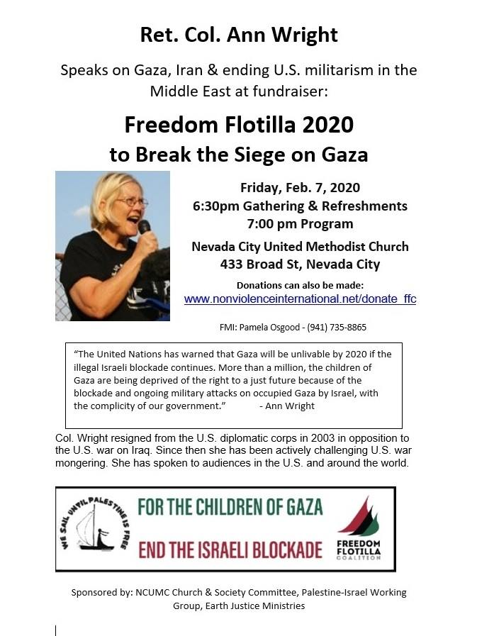 Retired Colonel Ann Wright Freedom Flotilla 2020 @ Nevada City United Methodist Church